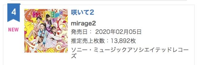 mirage2咲いて2オリコンランキング