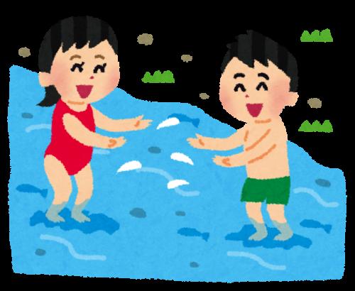 川遊びする子供・家族